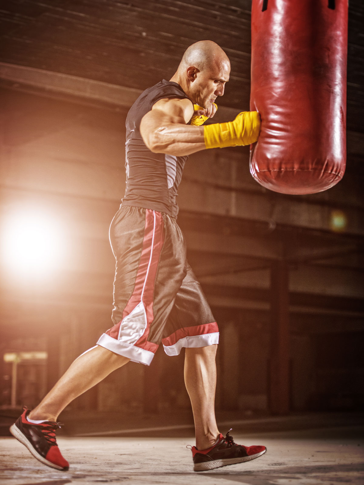 image of boxer punching heavy bag